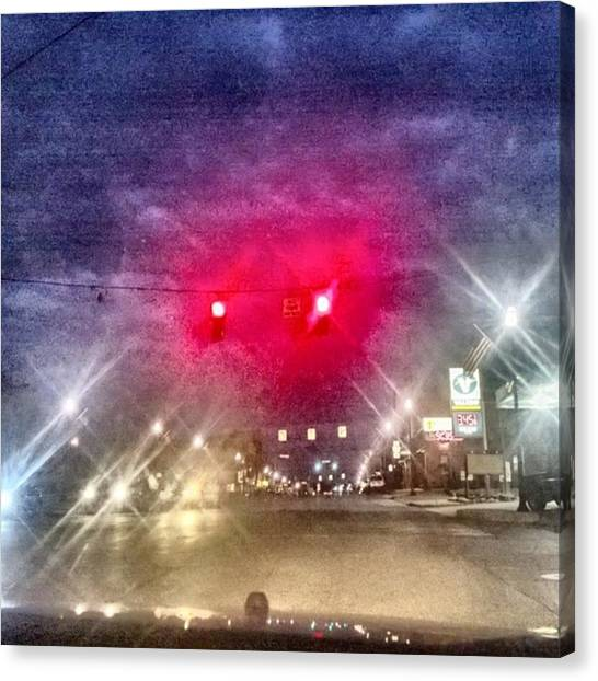 Stoplights Canvas Print - At Stop Light In Town by John Mckee
