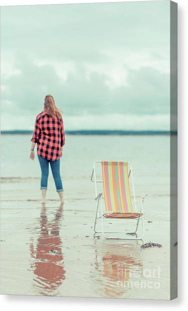 Flannel Canvas Print - At The Beach New London Prince Edward Island by Edward Fielding