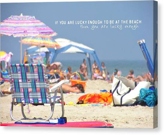 At The Beach Quote Canvas Print by JAMART Photography