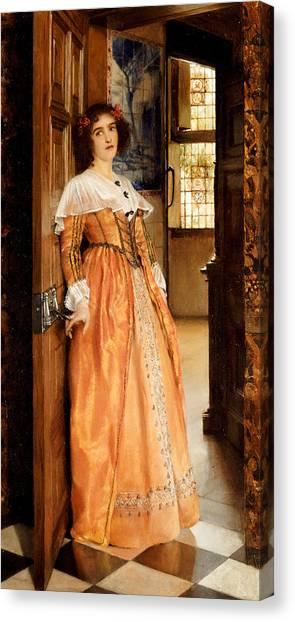 Flooring Canvas Print - At The Doorway by Laura Theresa Alma-Tadema
