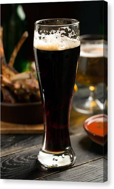 Craft Beer Canvas Print - At The English Pub by Vadim Goodwill