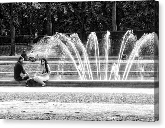 At The Fountain Canvas Print