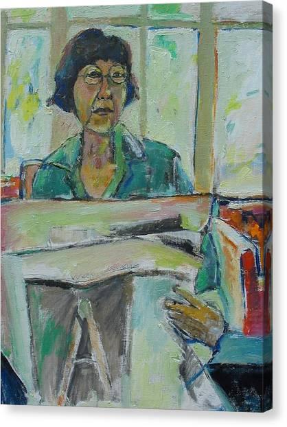 At The Library Canvas Print by Noredin Morgan