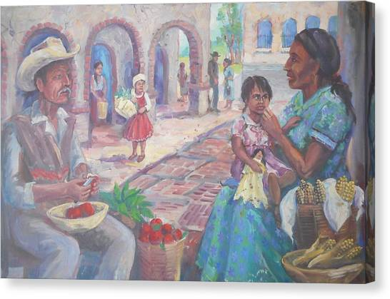 Lynn Burton Canvas Print - At The Plaza by Lynn Burton