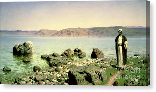 Israeli Canvas Print - At The Sea Of Galilee by Vasilij Dmitrievich Polenov