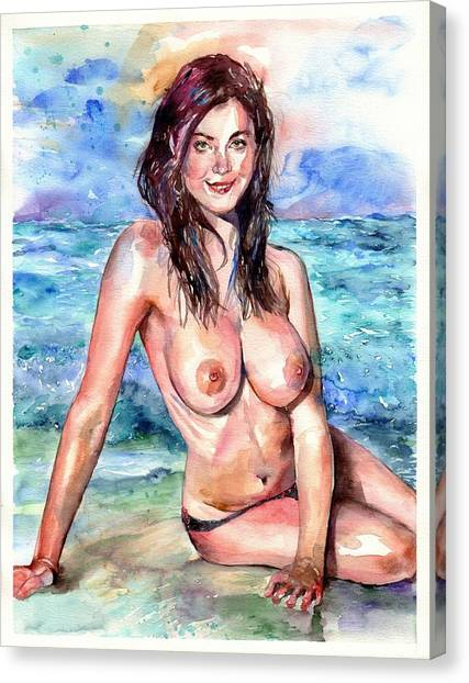 Naked Woman Canvas Print - At The Seaside by Suzann Sines