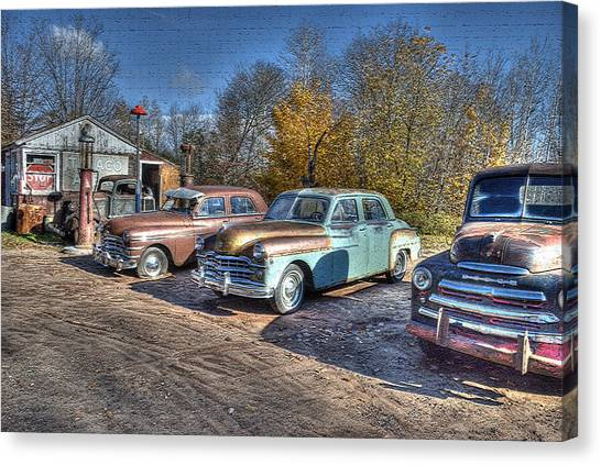 At The Service Station Canvas Print