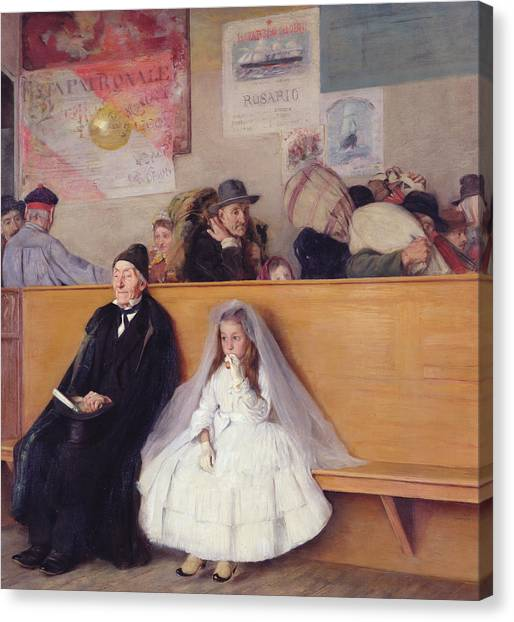 Grandpa Canvas Print - At The Station by Giuseppe Ricci