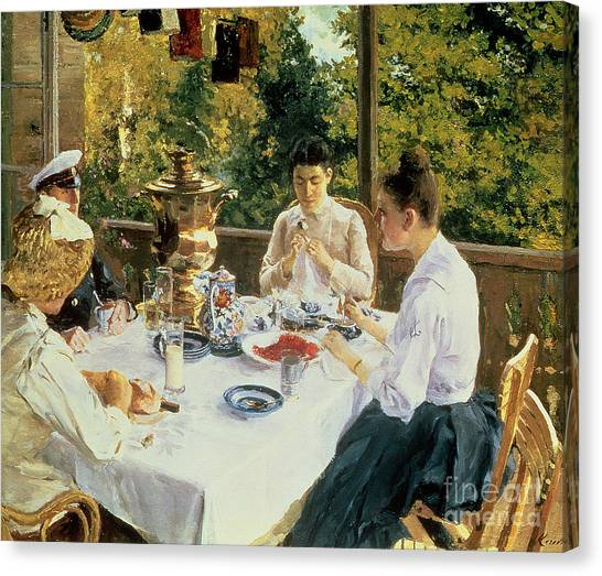 Tables Canvas Print - At The Tea-table by Konstantin Alekseevich Korovin