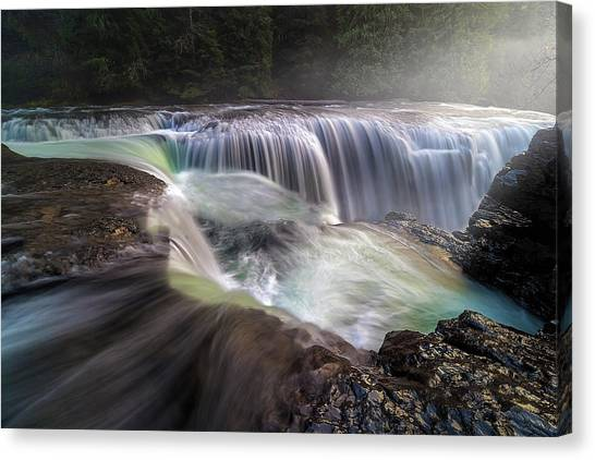 At The Top Of Lower Lewis River Falls Canvas Print