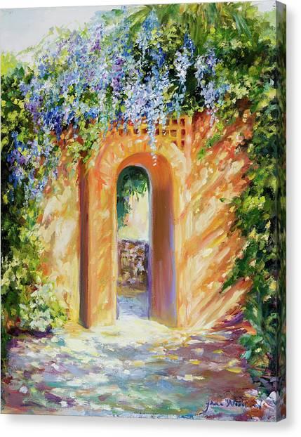 Atalaya With Wisteria Canvas Print by Jane Woodward