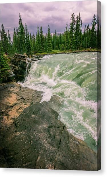 Athabasca Falls Canvas Print - Athabasca Falls Jasper National Park  by Joan Carroll