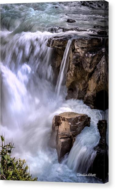 Canvas Print featuring the photograph Athabasca Falls by Claudia Abbott