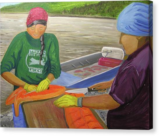 Athabaskan Women Cutting Salmon Canvas Print by Amy Reisland-Speer