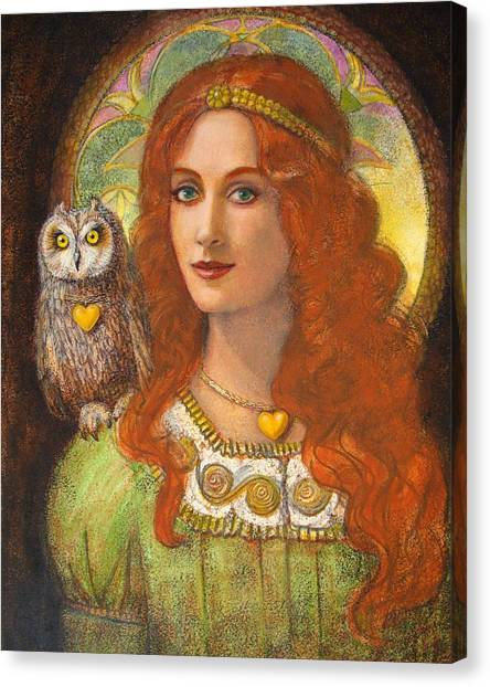 Athena And Her Owl- Wise Ones Canvas Print