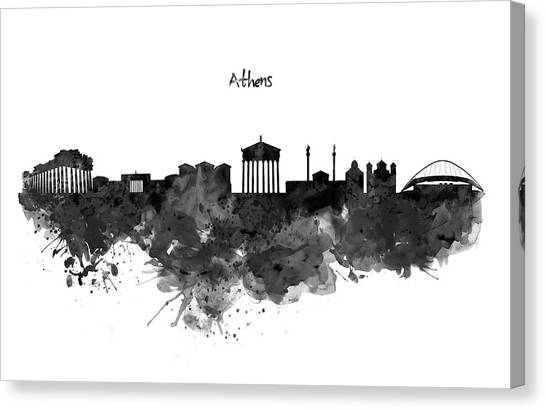 The Acropolis Canvas Print - Athens Black And White Skyline by Marian Voicu