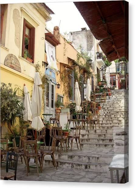 Athens Cafe Canvas Print