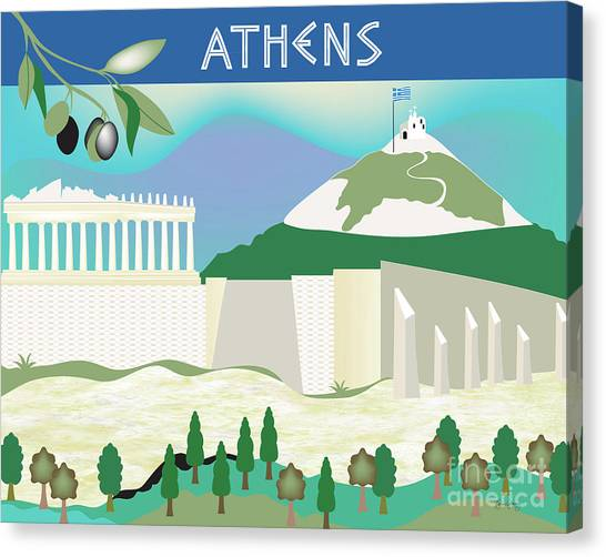 The Parthenon Canvas Print - Athens Greece Horizontal Scene by Karen Young
