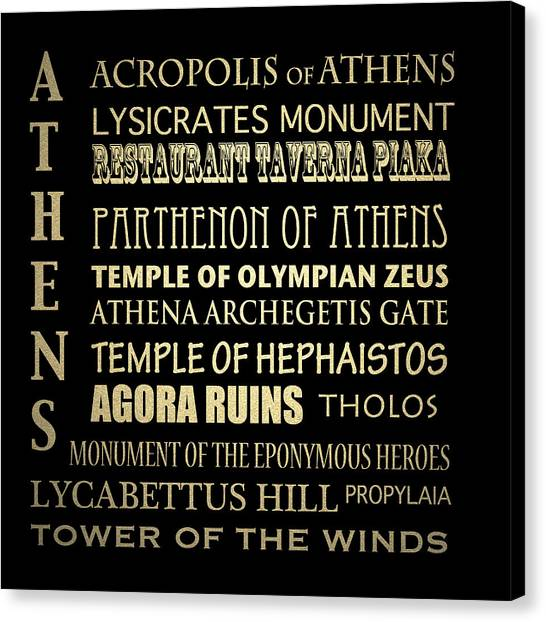 Famous Places Canvas Print - Athens Greece Famous Landmarks by Patricia Lintner