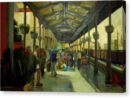 Athens Larissa Railway Station Canvas Print by George Siaba