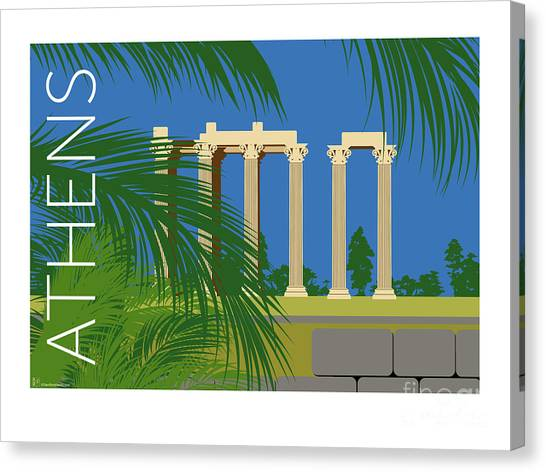 Canvas Print featuring the digital art Athens Temple Of Olympian Zeus - Blue by Sam Brennan