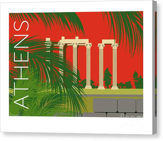 Canvas Print featuring the digital art Athens Temple Of Olympian Zeus - Orange by Sam Brennan