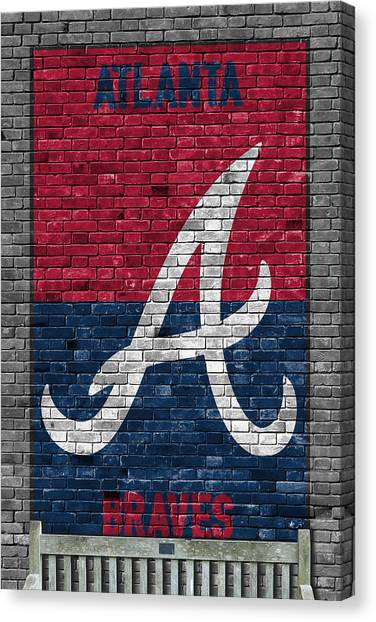 Atlanta Braves Canvas Print - Atlanta Braves Brick Wall by Joe Hamilton