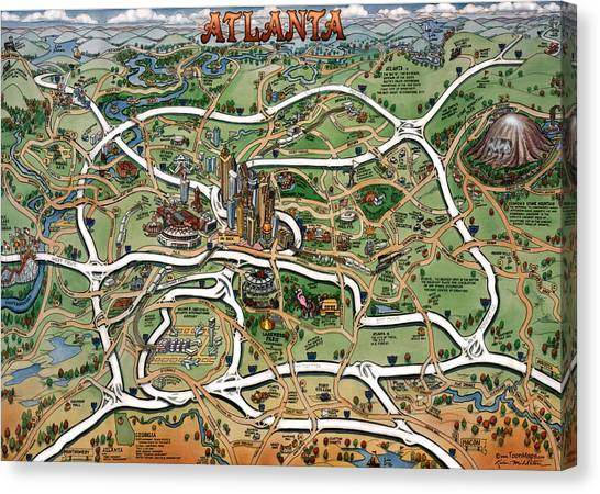 Atlanta Cartoon Map Canvas Print