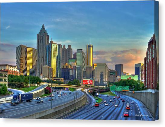 Atlanta Coca-cola Sunset Reflections Art Canvas Print