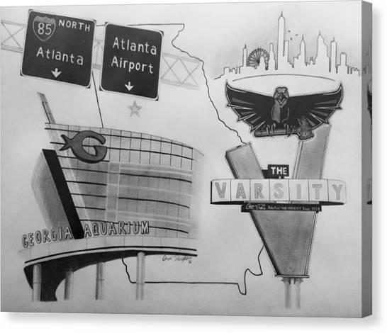 Atlanta Hawks Canvas Print - Atlanta Ga Collage by Omari Slaughter