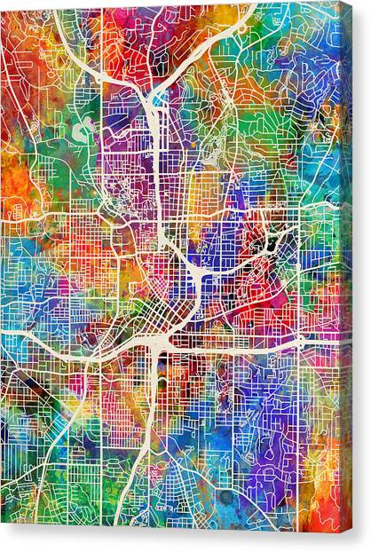 Georgia Canvas Print - Atlanta Georgia City Map by Michael Tompsett