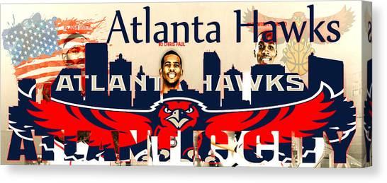 Atlanta Hawks Canvas Print - Atlanta Hawks by Don Kuing