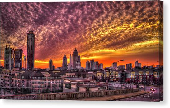 Emory University Canvas Print - Atlanta Midtown Atlantic Station Sunrise by Reid Callaway