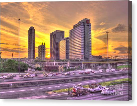 Emory University Canvas Print - Atlanta Midtown Atlantic Station Sunset by Reid Callaway