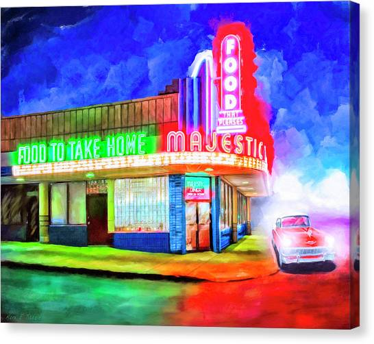 Canvas Print featuring the mixed media Atlanta Nights - The Majestic Diner by Mark Tisdale
