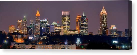 Georgia Canvas Print - Atlanta Skyline At Night Downtown Midtown Color Panorama by Jon Holiday