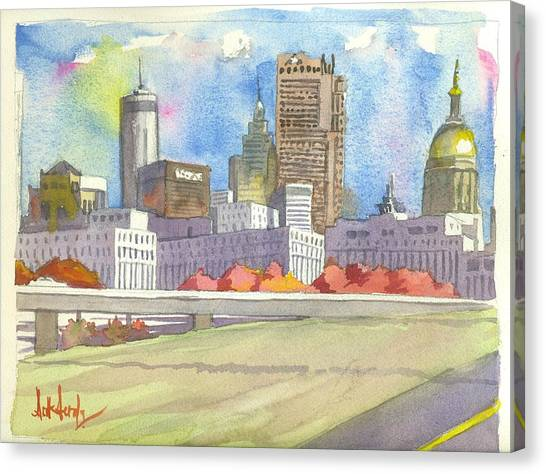 City Canvas Print - Atlanta Skyline Color by Scott Serafy