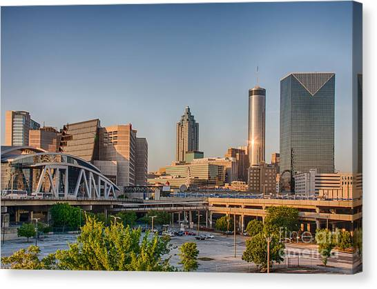 Atlanta Skyline Philips Arena Canvas Print