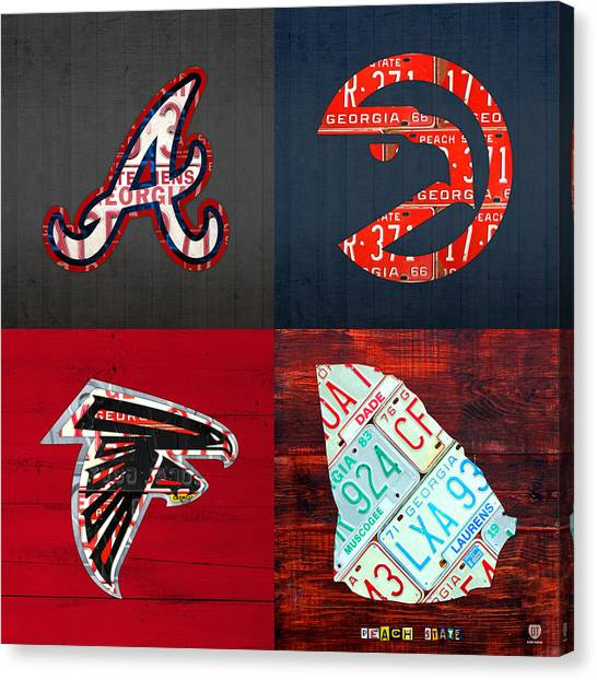 Falcons Canvas Print - Atlanta Sports Fan Recycled Vintage Georgia License Plate Art Braves Hawks Falcons Plus State Map by Design Turnpike