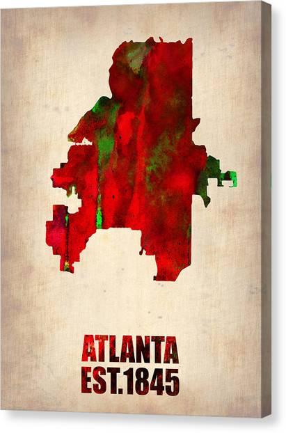 Georgia Canvas Print - Atlanta Watercolor Map by Naxart Studio