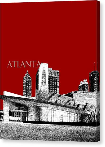 Coca Cola Canvas Print - Atlanta World Of Coke Museum - Dark Red by DB Artist