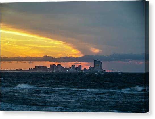 City Sunrises Canvas Print - Atlantic City - Sunrise Storm Front by Bill Cannon
