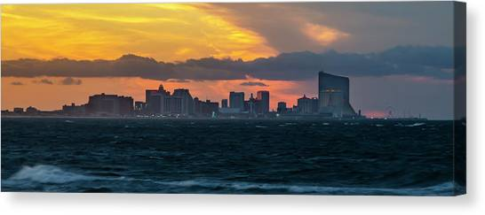 City Sunrises Canvas Print - Atlantic City - Sunrise Storm Front Panorama by Bill Cannon