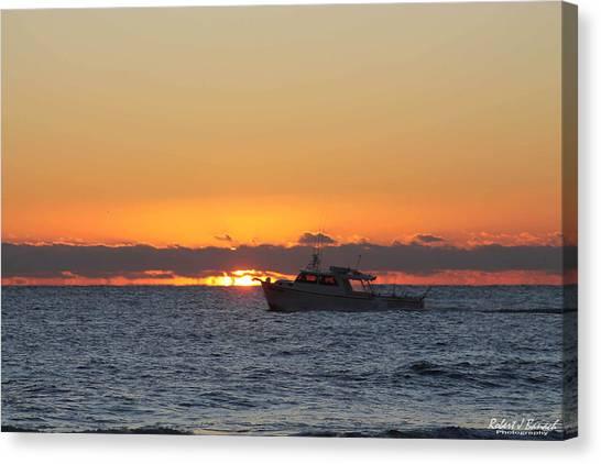 Atlantic Ocean Fishing At Sunrise Canvas Print