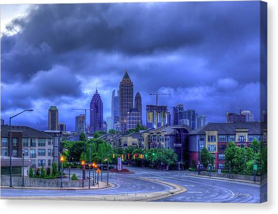 Emory University Canvas Print - Atlantic Station Before Sunrise 3 Midtown Cityscape Art by Reid Callaway