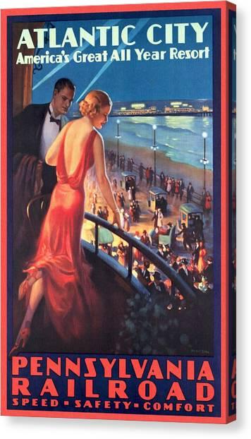 Atlantinc City - America's Great All Year Resort - Vintage Poster Restored Canvas Print