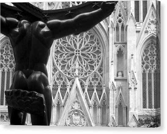 Atlas And St. Patrick's Cathedral Canvas Print