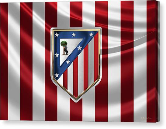 Atletico Madrid Canvas Print - Atletico Madrid - 3d Badge Over Flag by Serge Averbukh