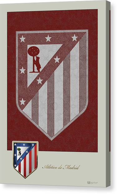 Atletico Madrid Canvas Print - Atletico Madrid - 3d Badge Over Vintage Logo by Serge Averbukh