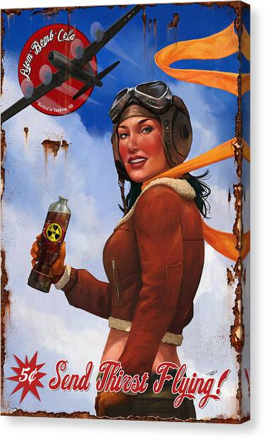 Bombs Canvas Print - Atom Bomb Cola Send Thirst Flying by Steve Goad